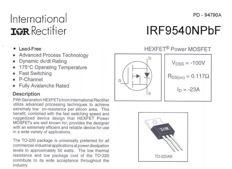 现货供应场效应管irf9540npbf