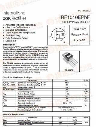 全新原装大功率场效应管irf1010epbf