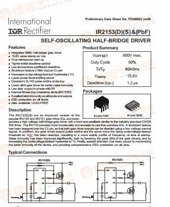 集成电路ICIR2153PBFM电源驱动芯片IR2153PBF现货热卖中