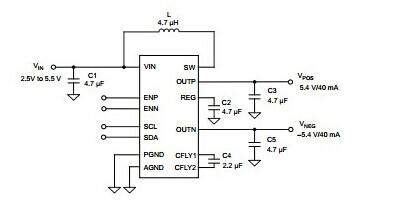 双输出电源描述 tps65132特性: •simo(单电感器多输出)稳压器