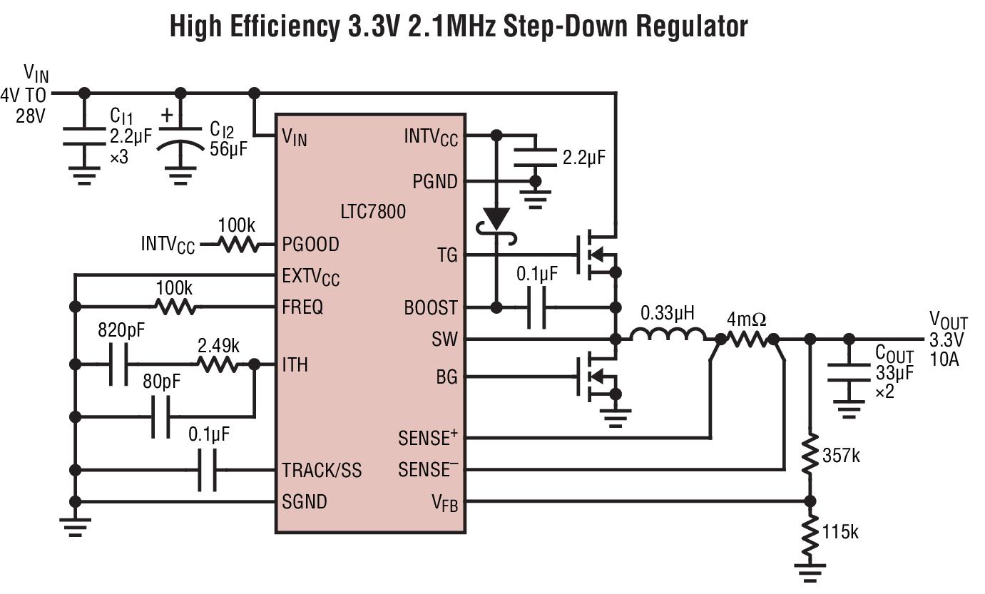 宽VIN范围:4V至60V(绝对最大值为65V) 低工作IQ:50A 宽输出电压范围:0.8VVOUT24V RSENSE或DCR电流检测 可锁相频率(320kHz至2.25MHz) 可编程固定频率(320kHz至2.25MHz) 在轻负载条件下可以选择执行连续、脉冲跳跃或低纹波突发模式(BurstMode®)操作 可选的电流限值 非常低压差操作:98%占空比 可调输出电压软起动或跟踪 电源良好输出电压监视器 输出过压保护 低停机IQ: