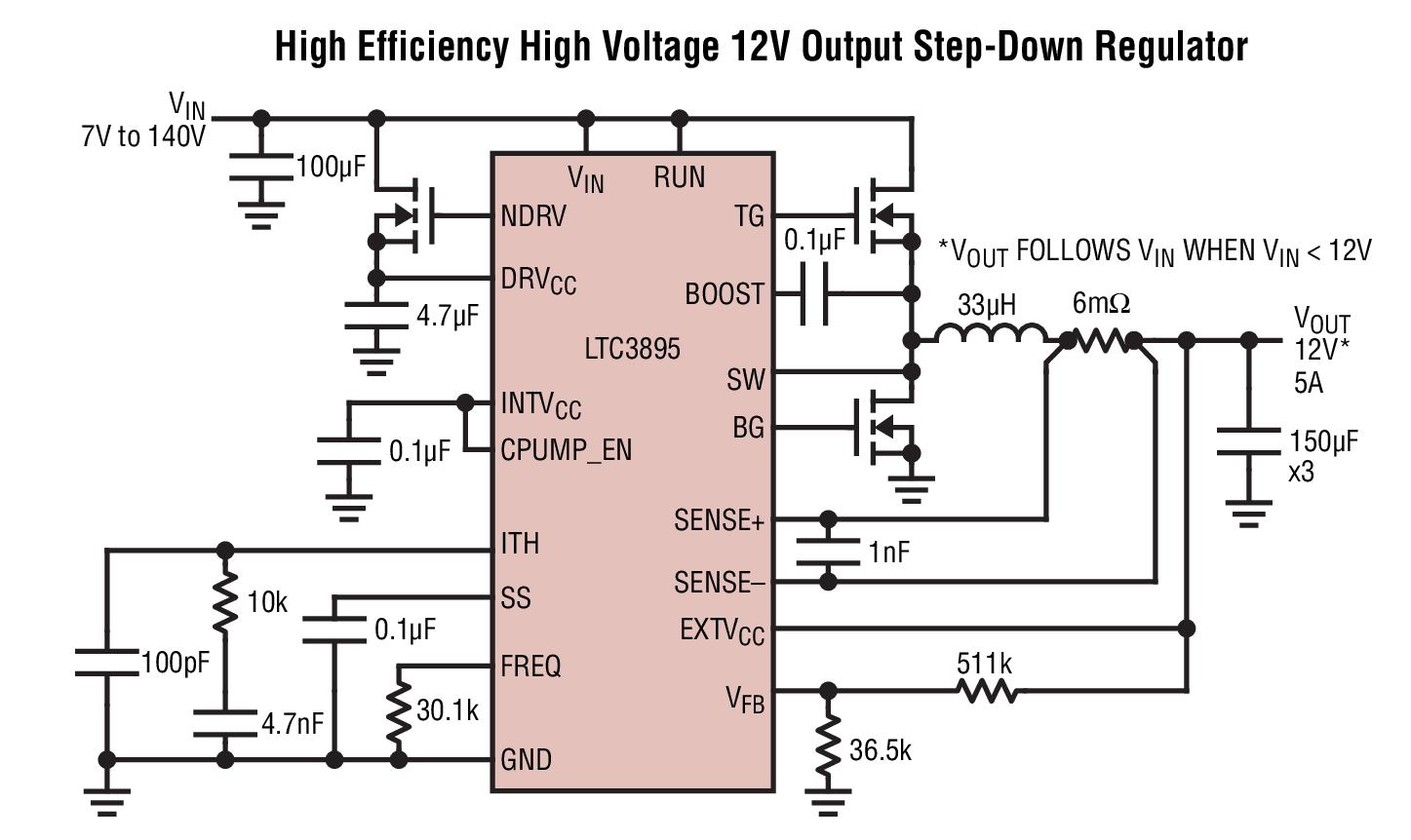 高电压电池供电式系统 规格:高性能,降压型开关稳压器 dc/dc 控制器